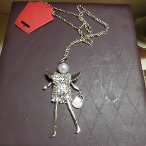 Silver plated shopping angel necklace